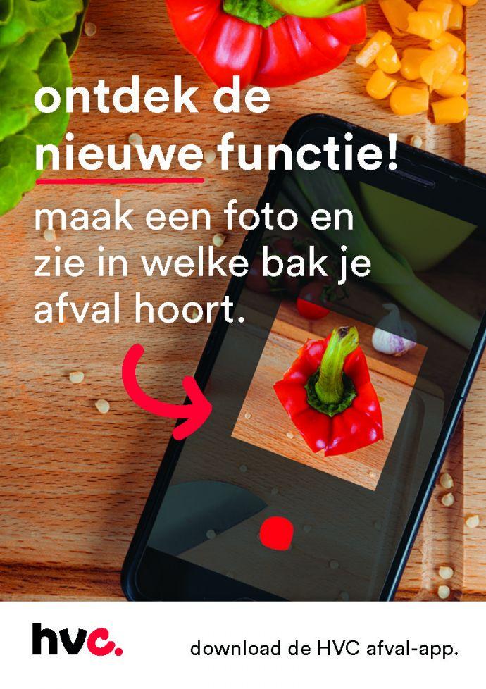 Ontdek de nieuwe functie in de HVC afval-app. Maak een foto en zie in welke bak je afval hoort.