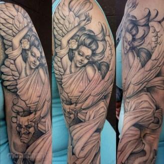 fine line single needle black & gray tattoo