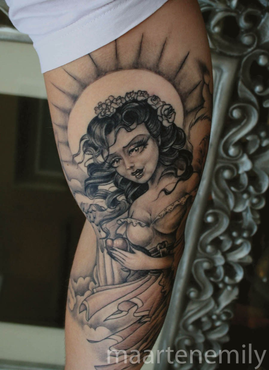 tattoos design by maarten neotraditional angel with halo
