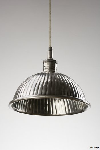 Ribbed pewter dome Industrial pewter pendants  Holloways
