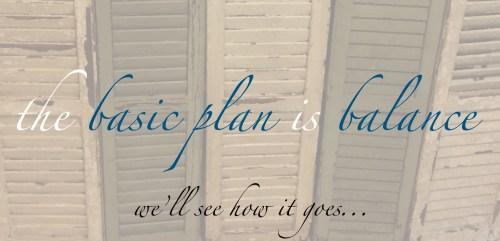 the basic plan is balance
