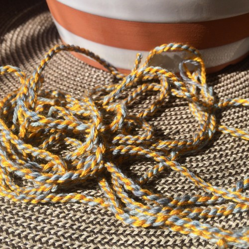 blue and yellow cording - made with yarn