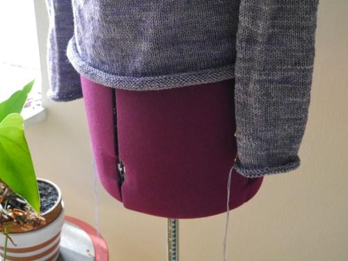 handknit sweater in progress