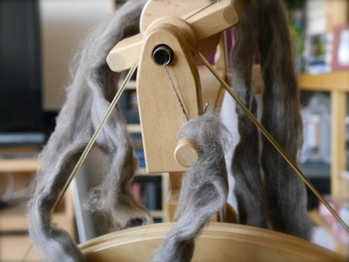 spinning wheel with fiber