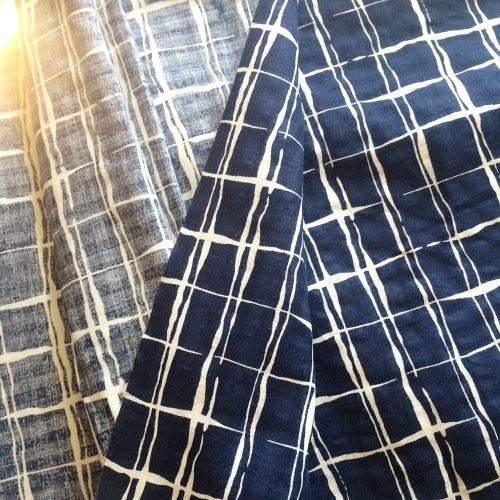 blue white print lightweight cotton fabric