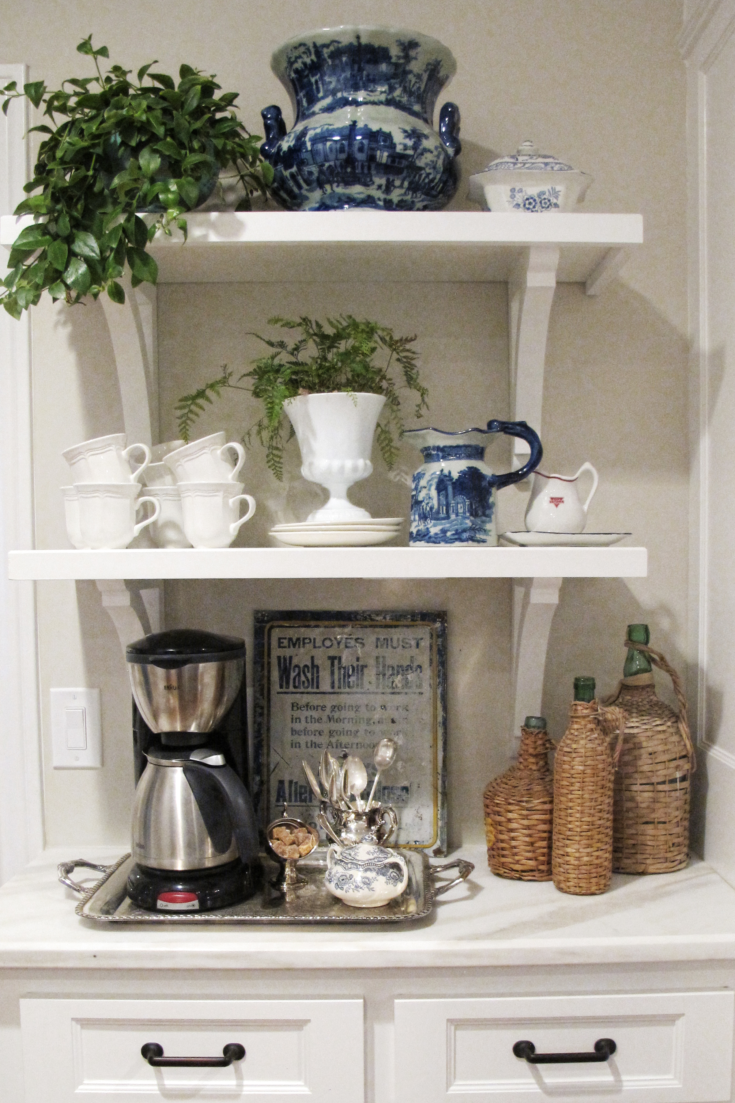 coffee bar in kitchen cabinet color on oprah holly mathis interiors