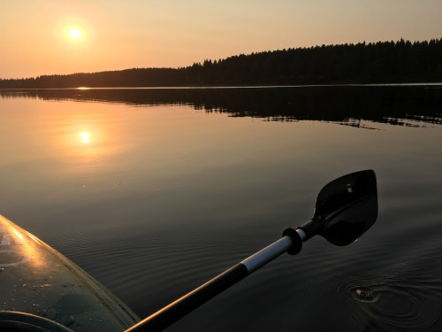 Sunset paddle on Hayes Lake in Roseau, Minnesota