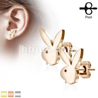 PlayboyBunny 316L Stainless Steel Earring Studs Pair
