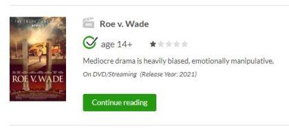 roe v wade common sense media review