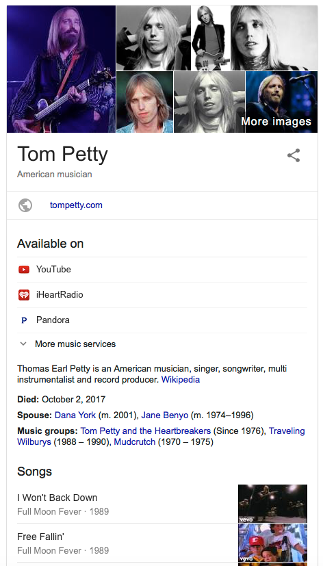 Tom Petty Died via Wikipedia