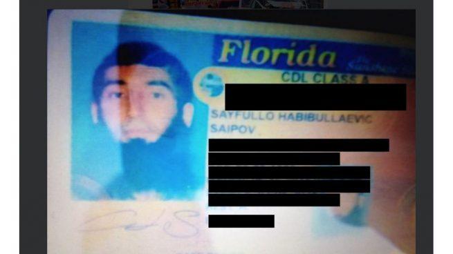 Sayfullo Saipov Drivers License
