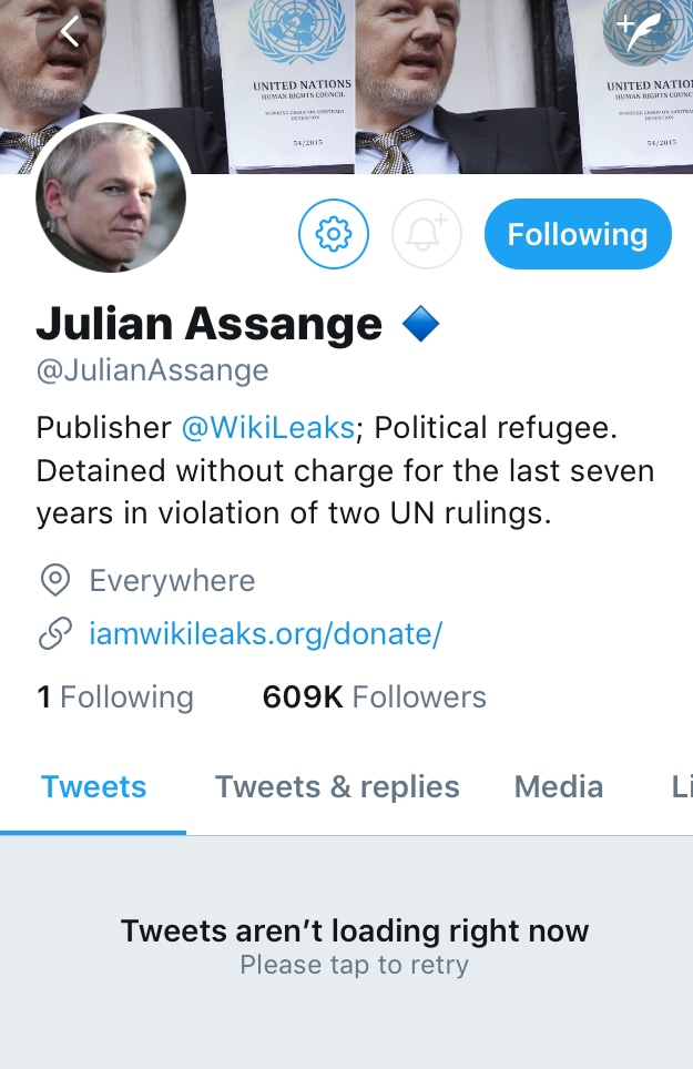 Julian Assange on Twitter