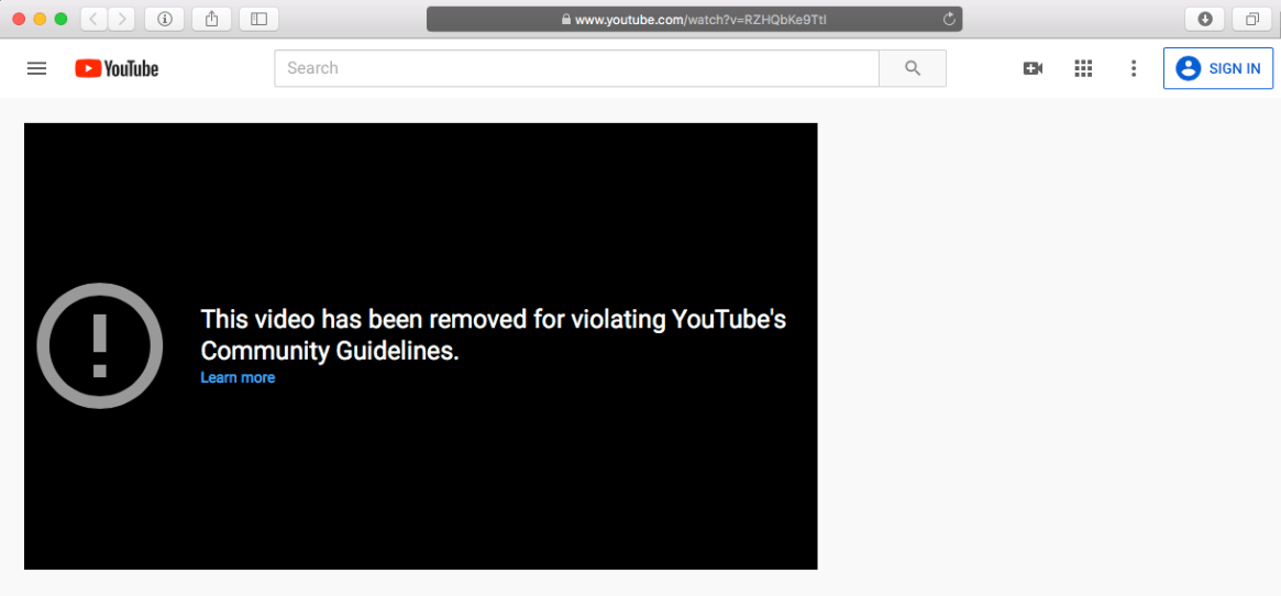 Youtube video banned