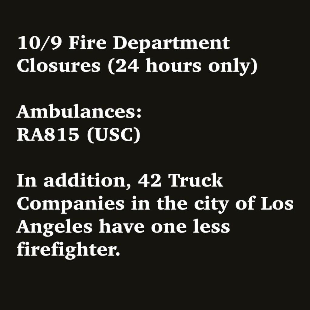 LA Fire Departments closed