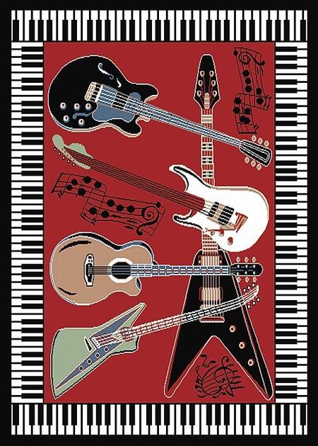 Guitar Rug  Piano Key Rug  Novelty Rug  Music Rug