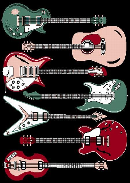Guitar Rug  Electric Guitars  Novelty Rug  Music Rug