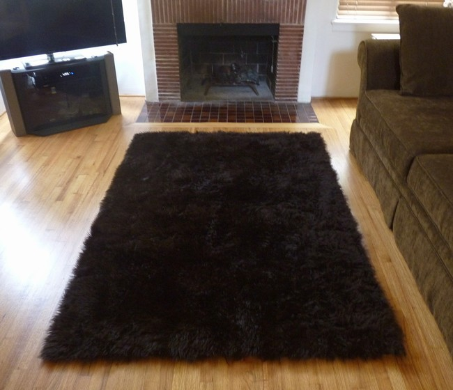 Super Plush Brown Faux Fur Area Rug from France