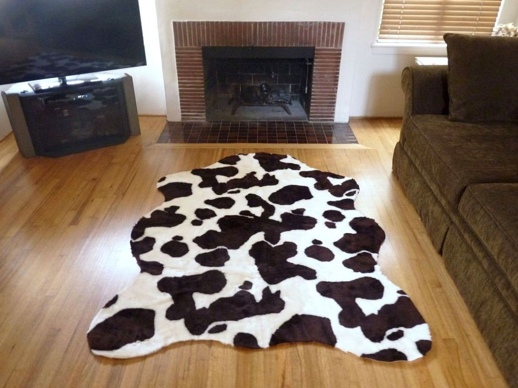 Super Plush BrownWhite Faux Cow Hide Rug from France
