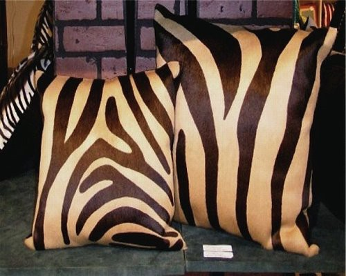 Zebra Print Cowhide Decorative Throw Pillow Brown and Beige