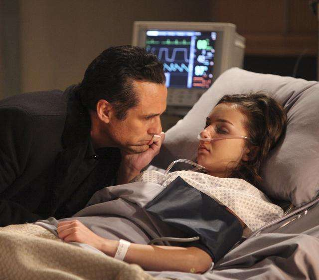 Maurice Benard (Sonny) and Lexi Ainsworth (Kristina) in a scene from ABC Daytime's