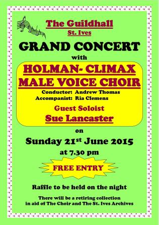 Choir Poster St Ives Guildhall 2015