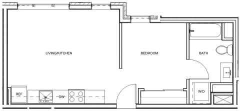 Studio / 1 Bath / 523 sq ft / Deposit: $400