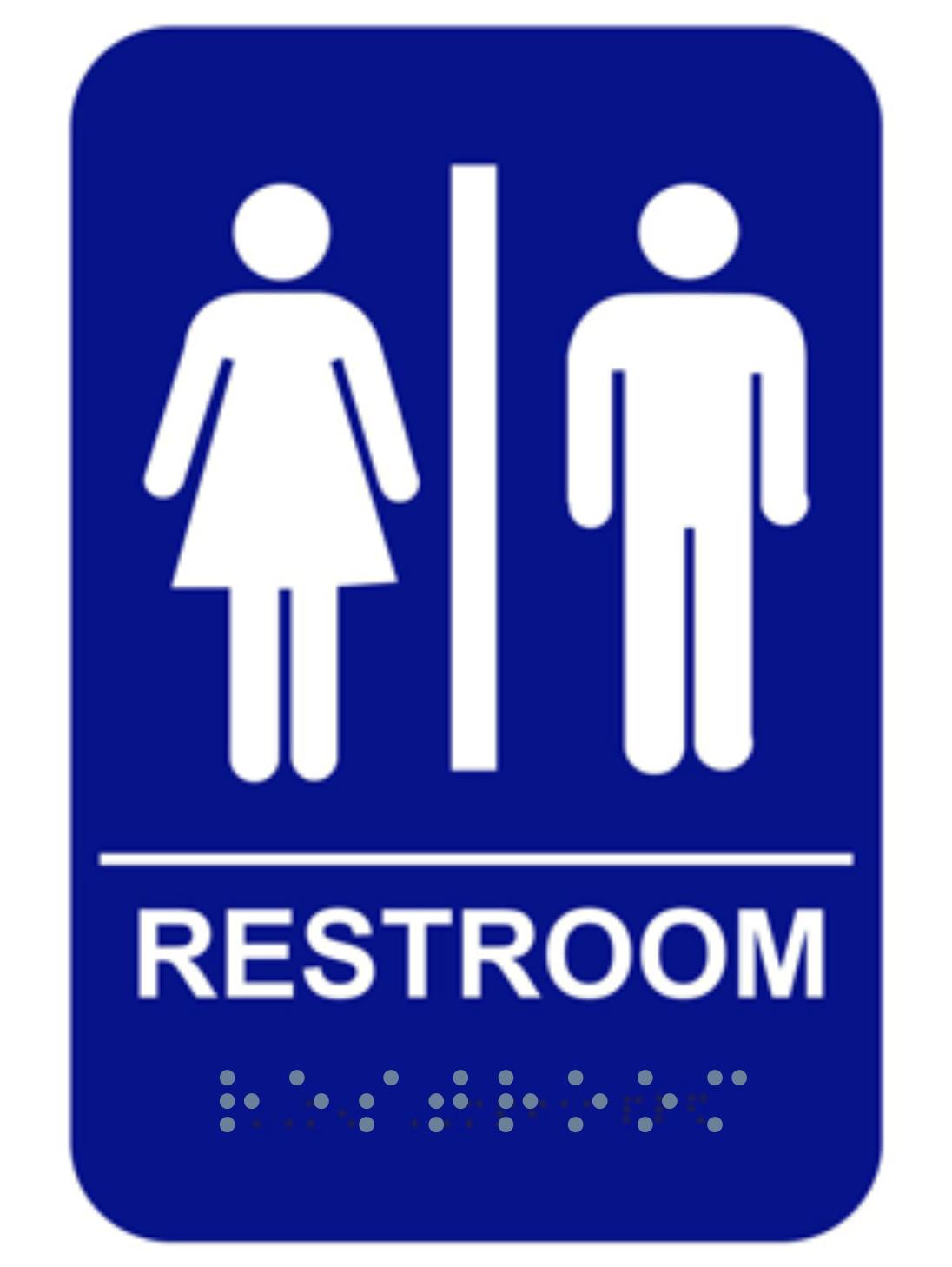 Blue Uniada Braille Restroom Sign