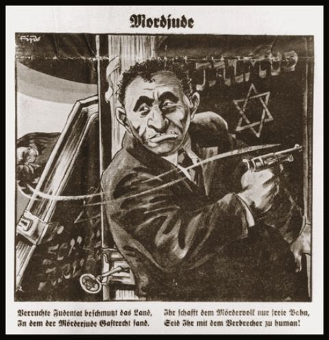 Depiction of Herschel Grynszpan, the Jewish assassin of Ernst vom Roth
