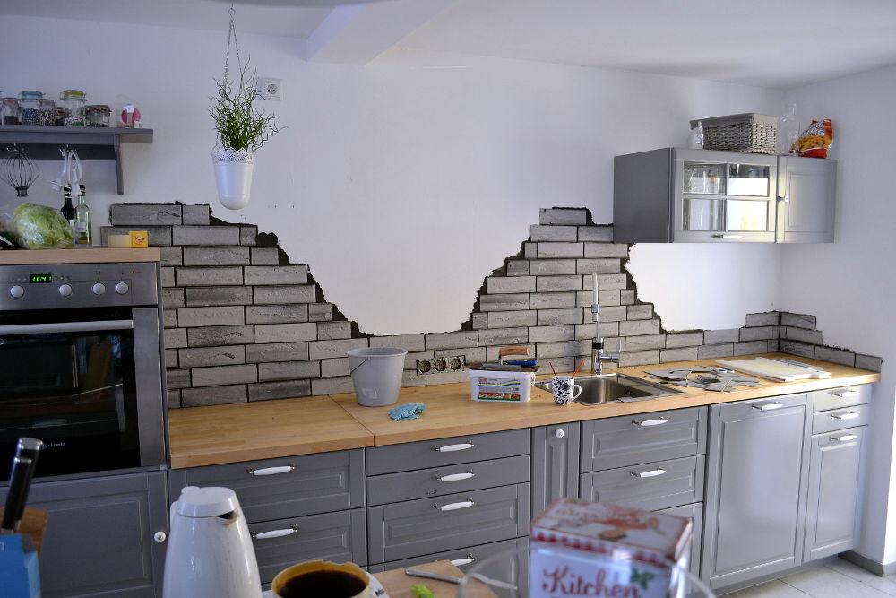 Kchenrckwand gestalten  DIY mit Flachverblendern  holozaende