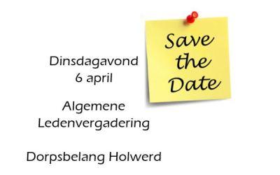 6 april – Algemene ledenvergadering Dorpsbelang Holwerd