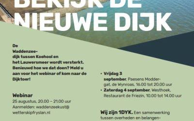 Webinar en inloopmomenten voor dijkverbetering Koehool tot Lauwersmeer
