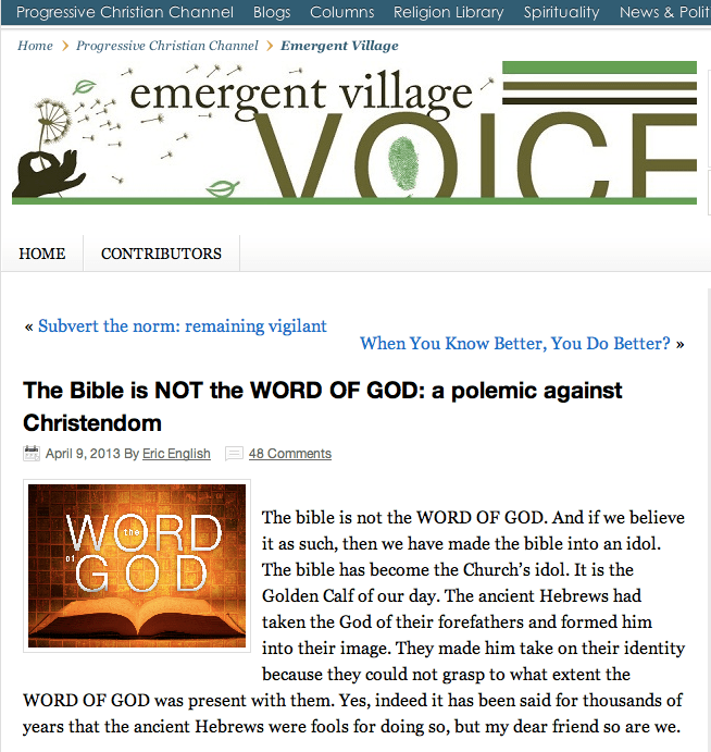 emergent village denies word of god