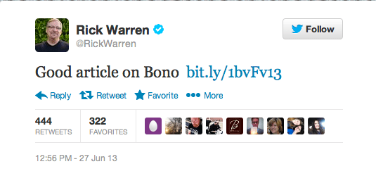Rick Warren Tweets Bono