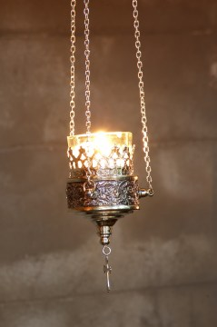 Silver lamp closeup
