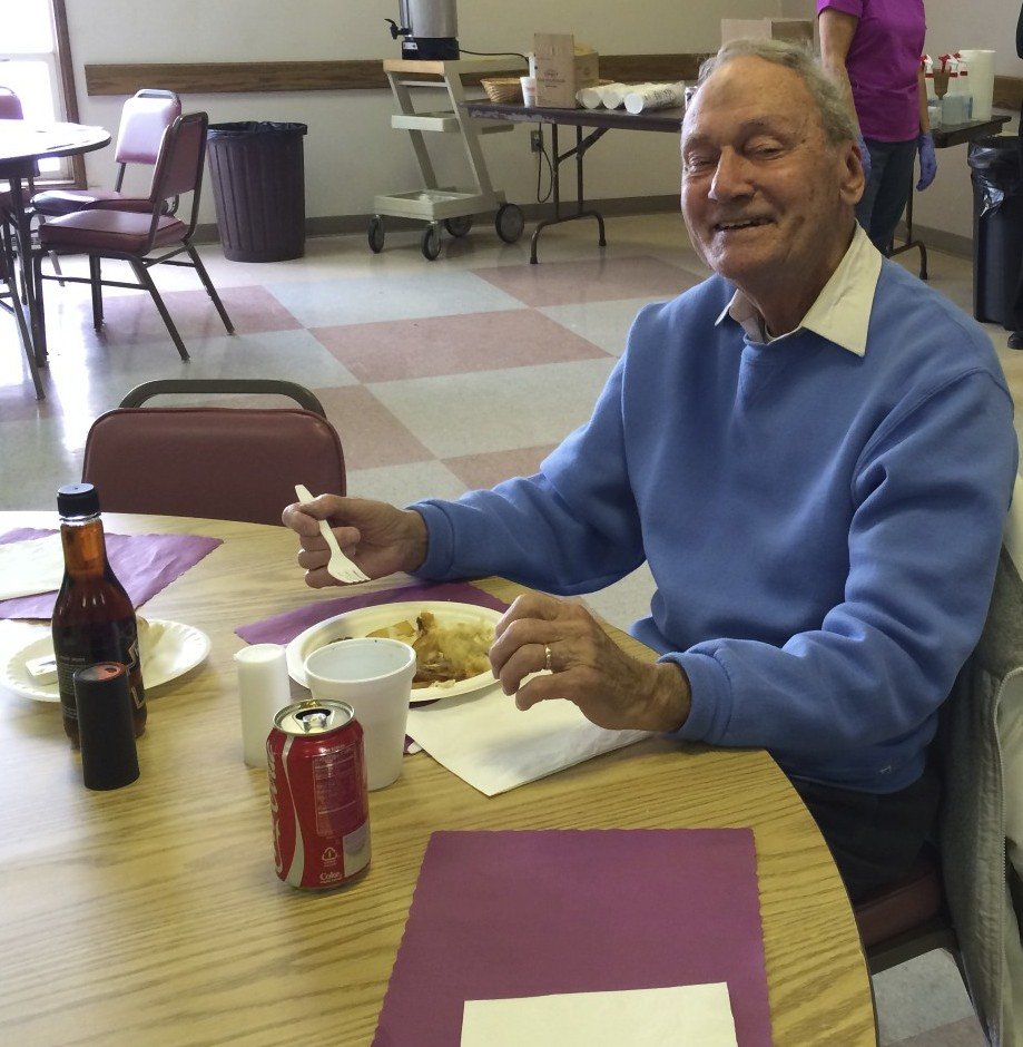 Deacon Ray eating Fish & Chips