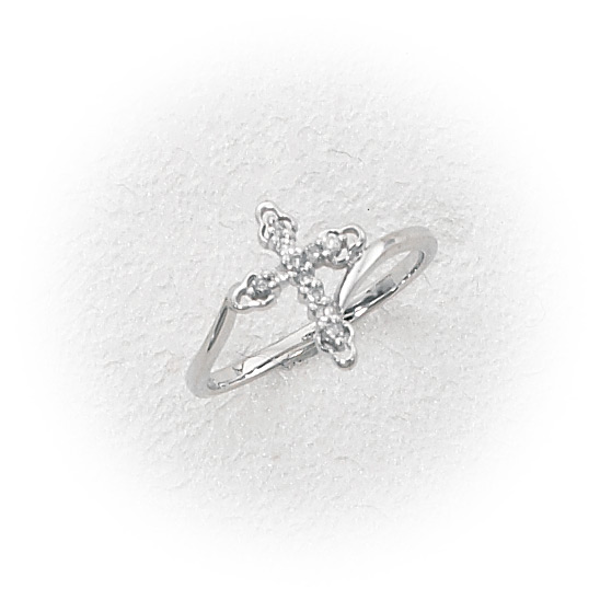 14K White Gold Diamond Cross Ring .11ct TDW