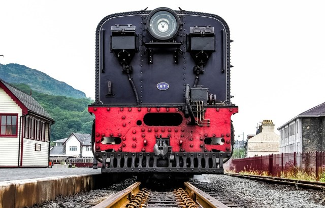 Old red and black train