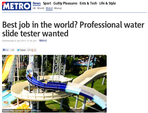 Water Slide Tester