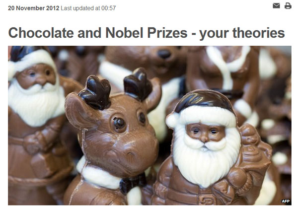 Chocolate and Nobel prizes