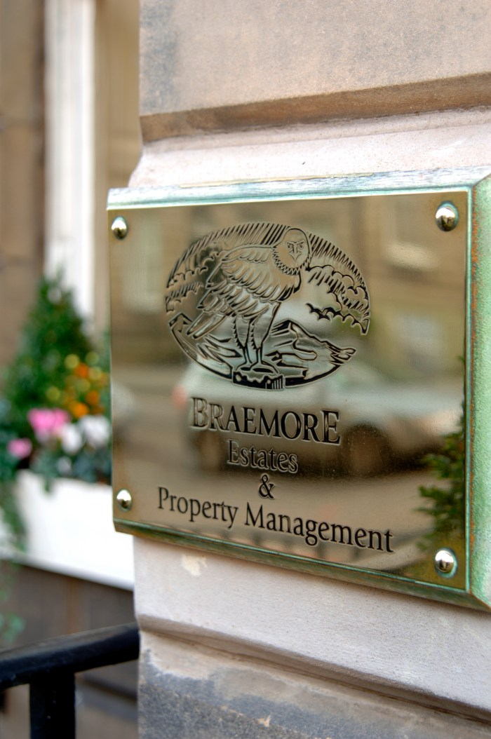 Property PR photography of Braemore plaque Dundas Street by Edinburgh PR agency