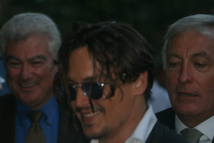Johnny Depp visiting winner of