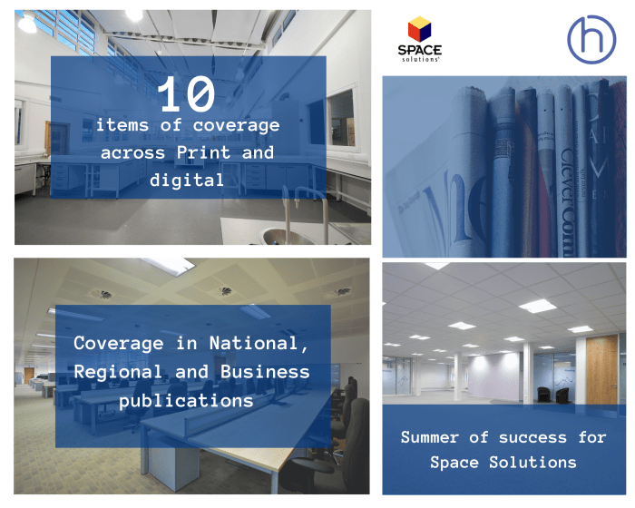 Scottish PR photography success graphic for Space Solutions summer of success