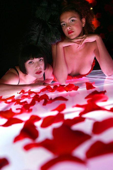 Hotel PR photograph of glamorous models at Lulu's glamour launch located underneath Tigerlily, Edinburgh