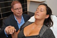 Hypnotherapist who helps calm nervous dental patients in dental PR images