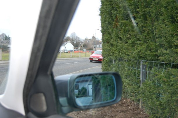 A hedge at the entrance to a home on Keithhall Road, Inverurie. The Scothedge activist house owners, are taking the hedge-growers to court over allegations that the foliage is a traffic safety hazzard as they claim it obstructs their view of the road.