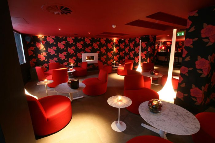 Hotel PR photograph of uber-chic Lulu interior underneath Tigerlily, Edinburgh