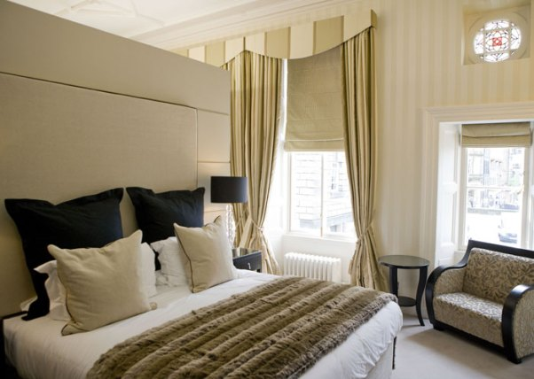 Hotel PR photography of the individually designed bedrooms at Fraser Suites Edinburgh