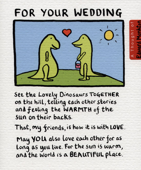 The lovely dinosaurs...may you love each other for as long as you live.