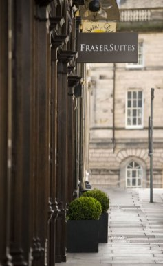 Hotel PR photography of the front entrance of Fraser Suites on St Giles Street, Edinburgh, Scotalnd