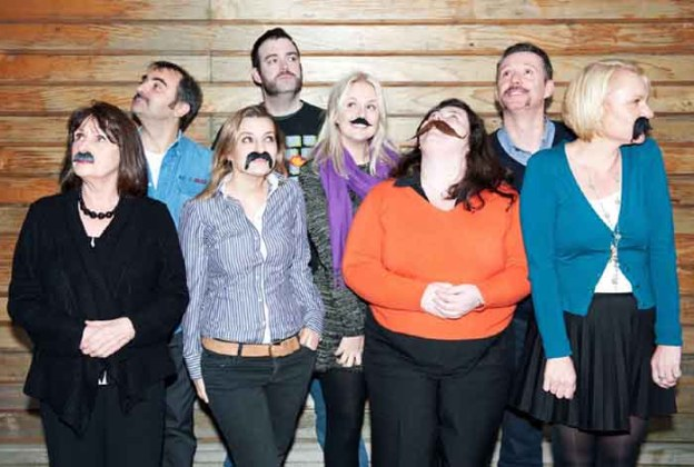 Movemeber impostors. PR photographyof women sporting fake Movember moustaches